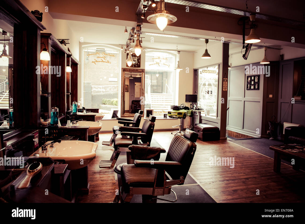Men's barber shop, retro styled interior design Stock