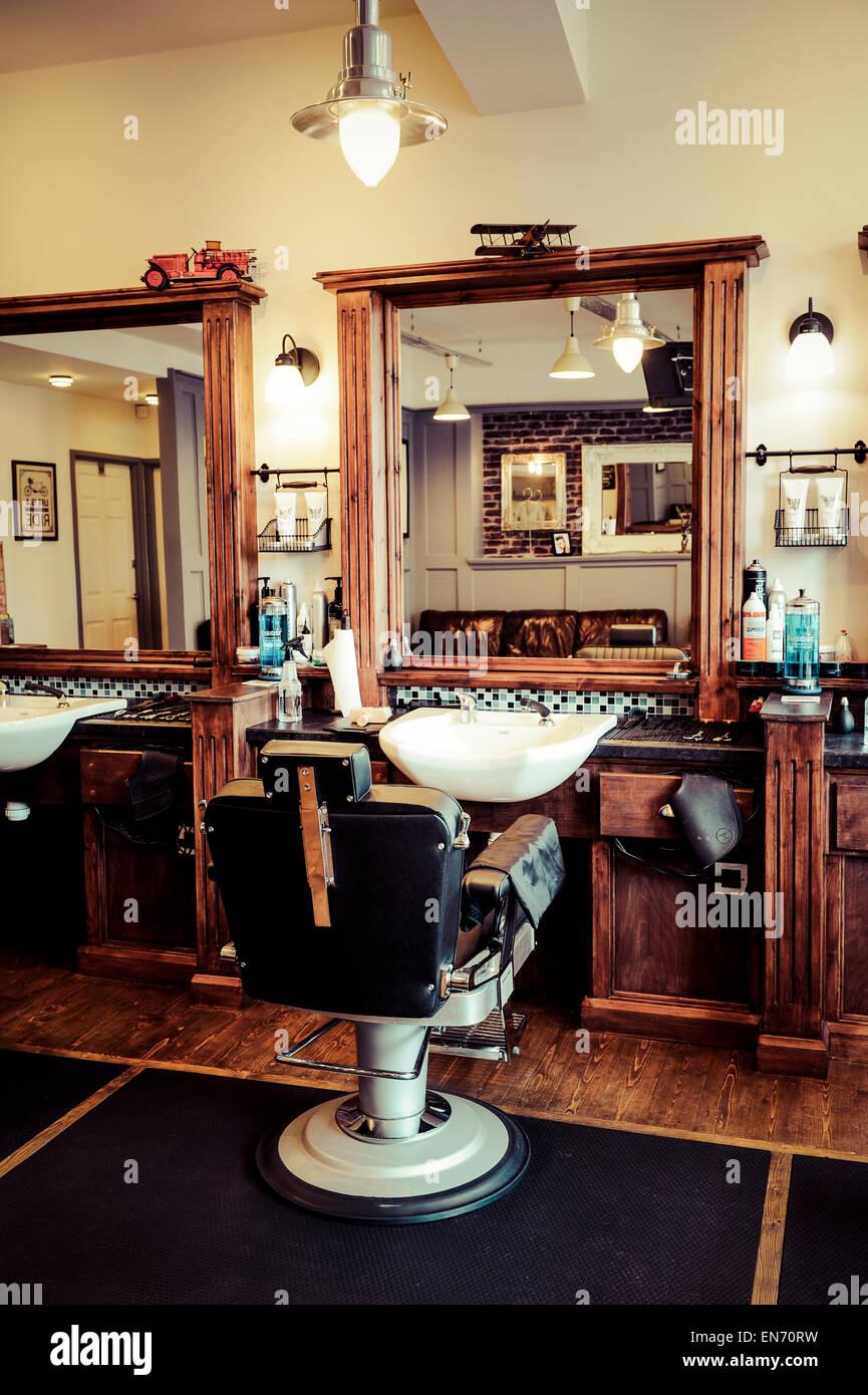 Mens barber shop retro styled interior design Stock