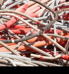red electrical wires and other lengths of copper wire in the dump of special material [ 1300 x 859 Pixel ]