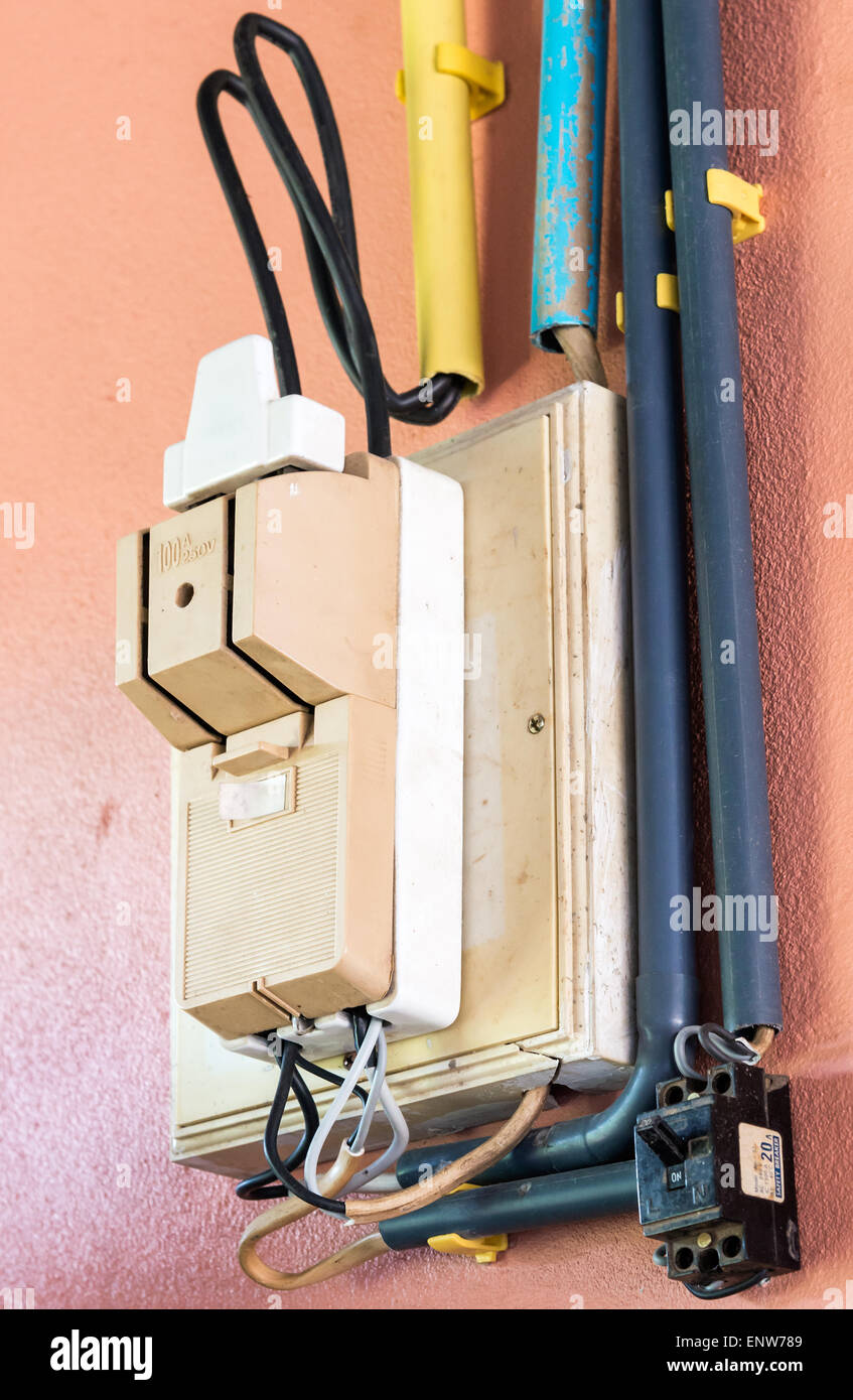 medium resolution of twin breaker box on the wall of countryside house stock image