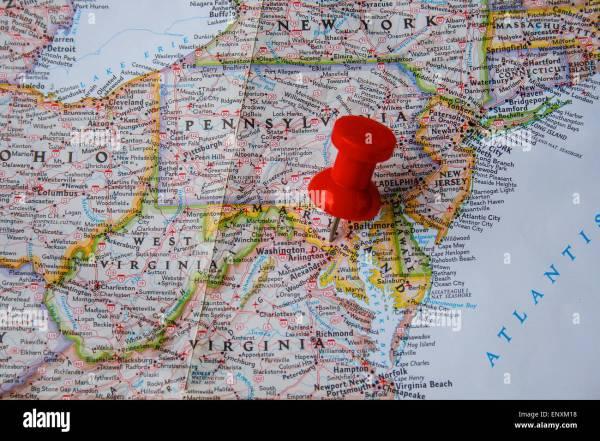 Red Pin Map Of Usa Pointing Washington Dc Stock