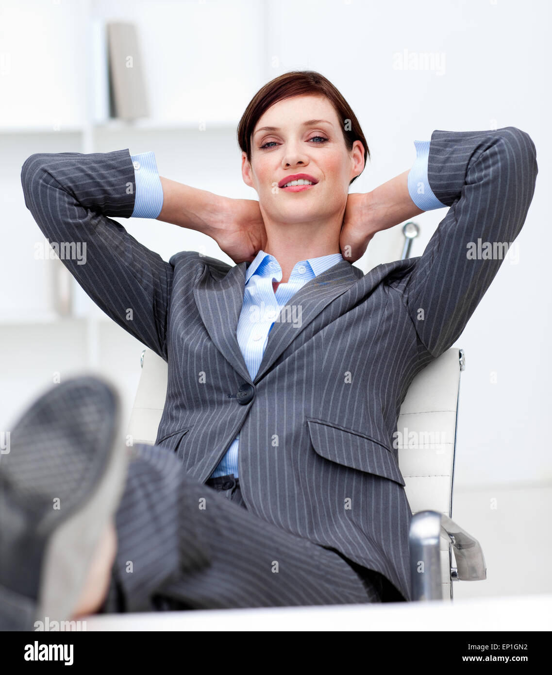 office chair leaning to one side hanging stand canada lazy suit stock photos and