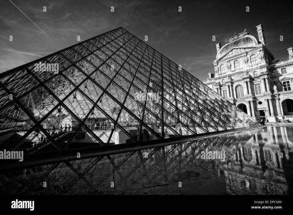 Center Courtyard Louvre Museum In Paris France Stock Royalty Free