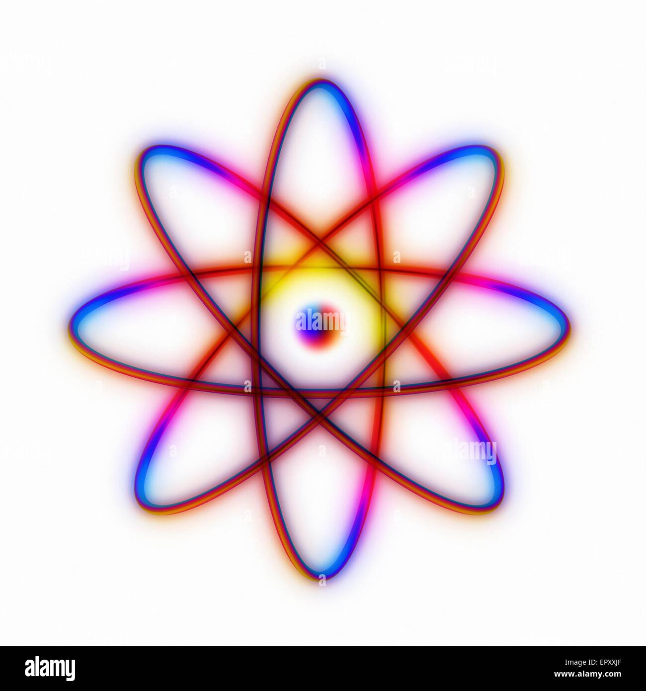 hight resolution of atomic structure conceptual computer artwork representing the structure of an atom eight electrons are