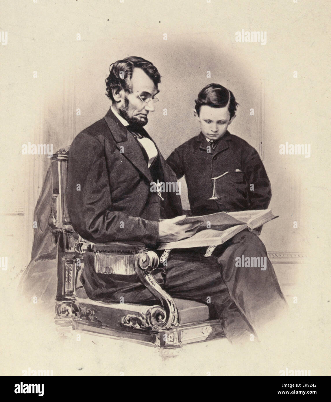 President A Lincoln Reading The Bible To His Son