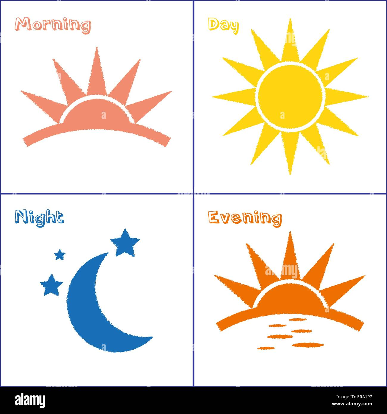 Sun And Moon Morning Day Evening Night Handdrawn Vector