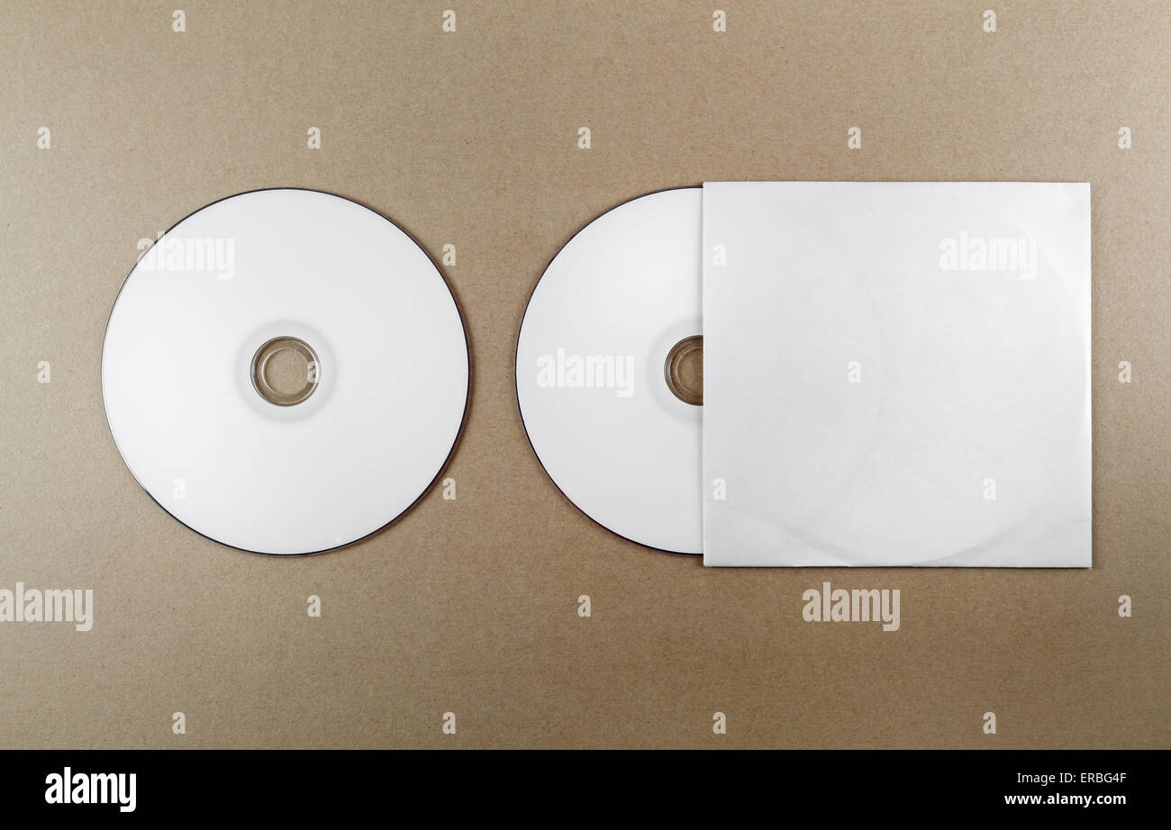 Blank Compact Disk On A Table. Template For Branding Identity For  Designers. Top View.