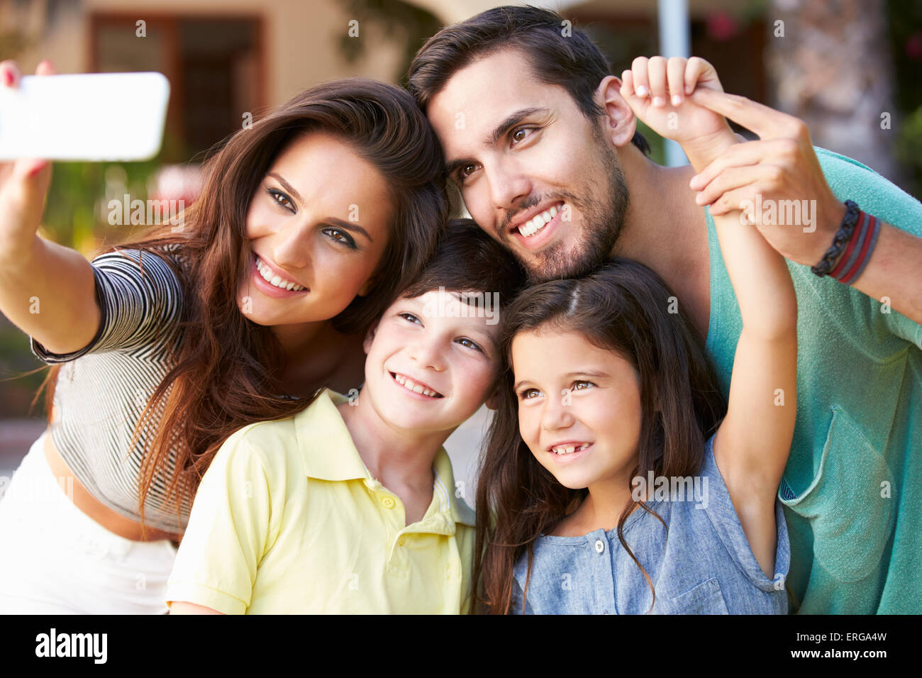 family in garden taking
