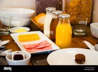 continental breakfast table setting at a hotel Stock Photo ...