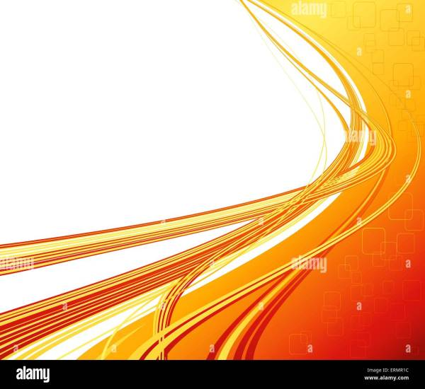 Vector Abstract Orange Color Curved Lines Background