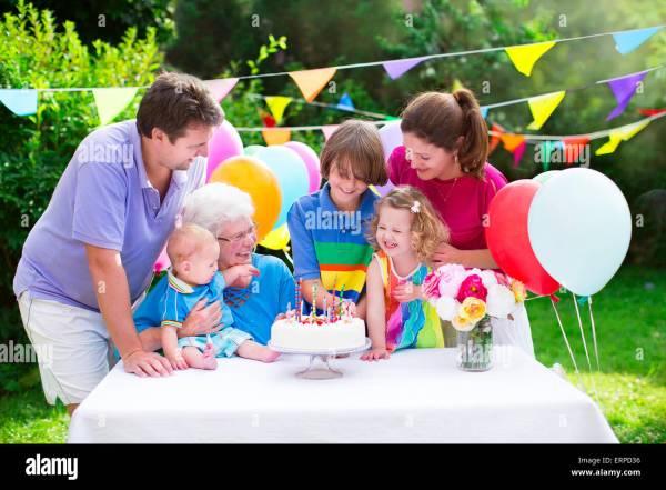 Big Family With Three Kids And Grandmother Enjoying
