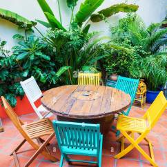 Funky Wooden Chairs Kitchen Table Set Of 4 Brightly Coloured And In Garden Stock
