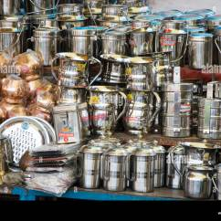 European Kitchen Gadgets Antique White Island Copper Utensils Stock Photos And