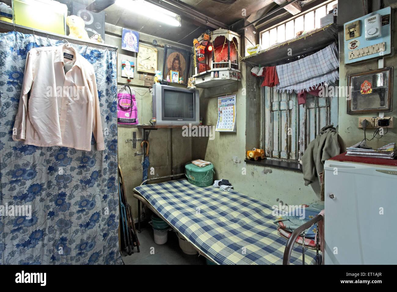 One Room House Textile mill Chawl Mumbai India Asia Stock