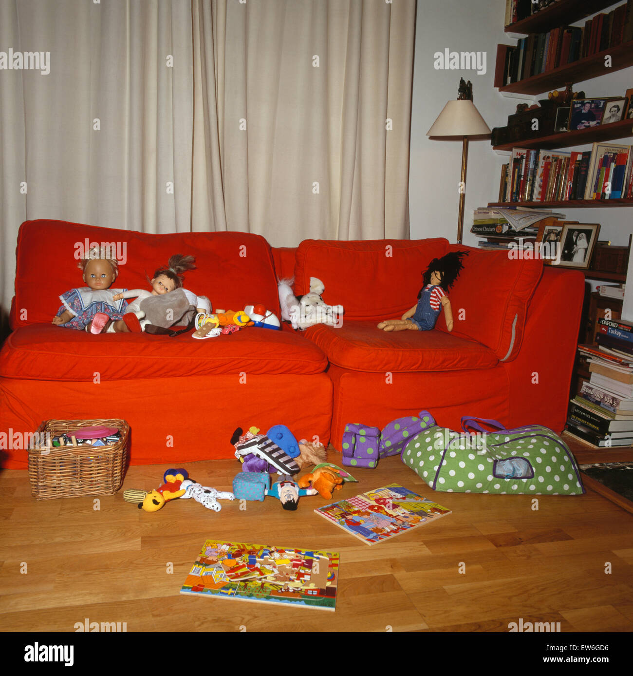 children s playroom sofa mid century modern gray toys on orange and floor in 39s untidy play