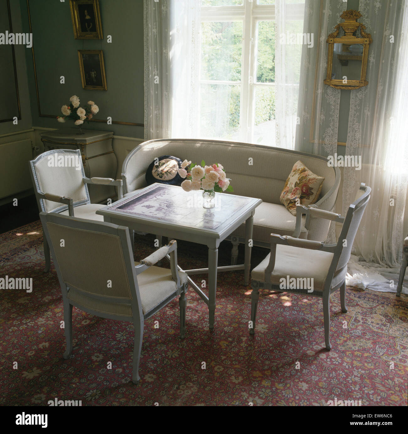 grey painted chairs large folding chair stock photos images alamy and small table in swedish dining room image