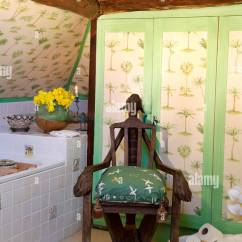 Unusual Wooden Chair Charles Rennie Mackintosh Willow Beside Bath In Yellow Country Bathroom With Green Wallpaper On Cupboard Doors