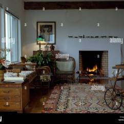 Country Rug For Living Room Right Size Kelim And Old Pine Chest In With Lighted Fire The Fireplace