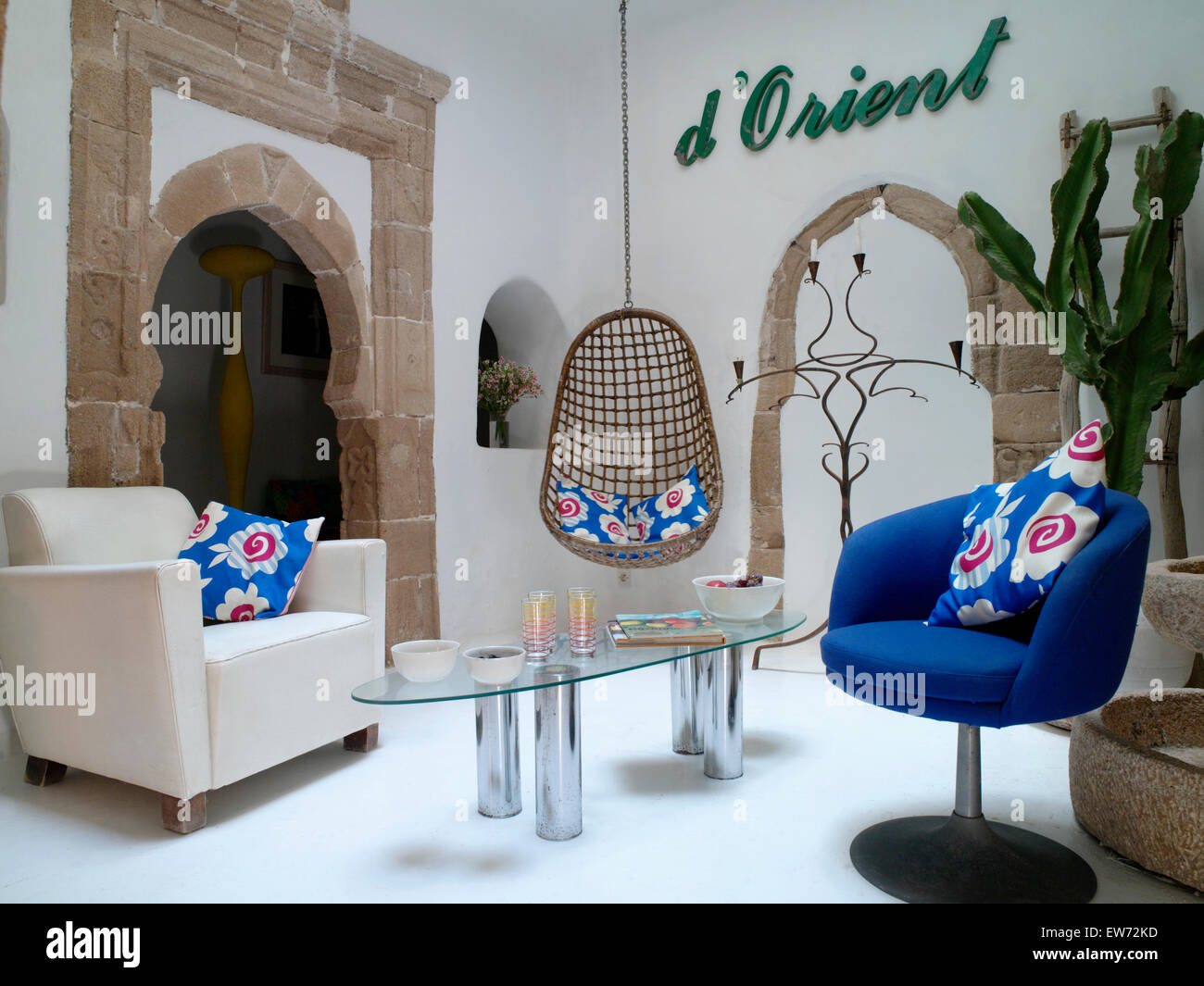 Marrakech Swing Chair Bright Blue Cushions On White And Blue Armchairs In Modern