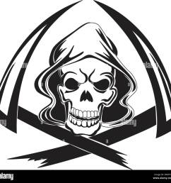 tattoo design of a grim reaper with scythe vintage engraved illustration stock vector [ 1300 x 1257 Pixel ]