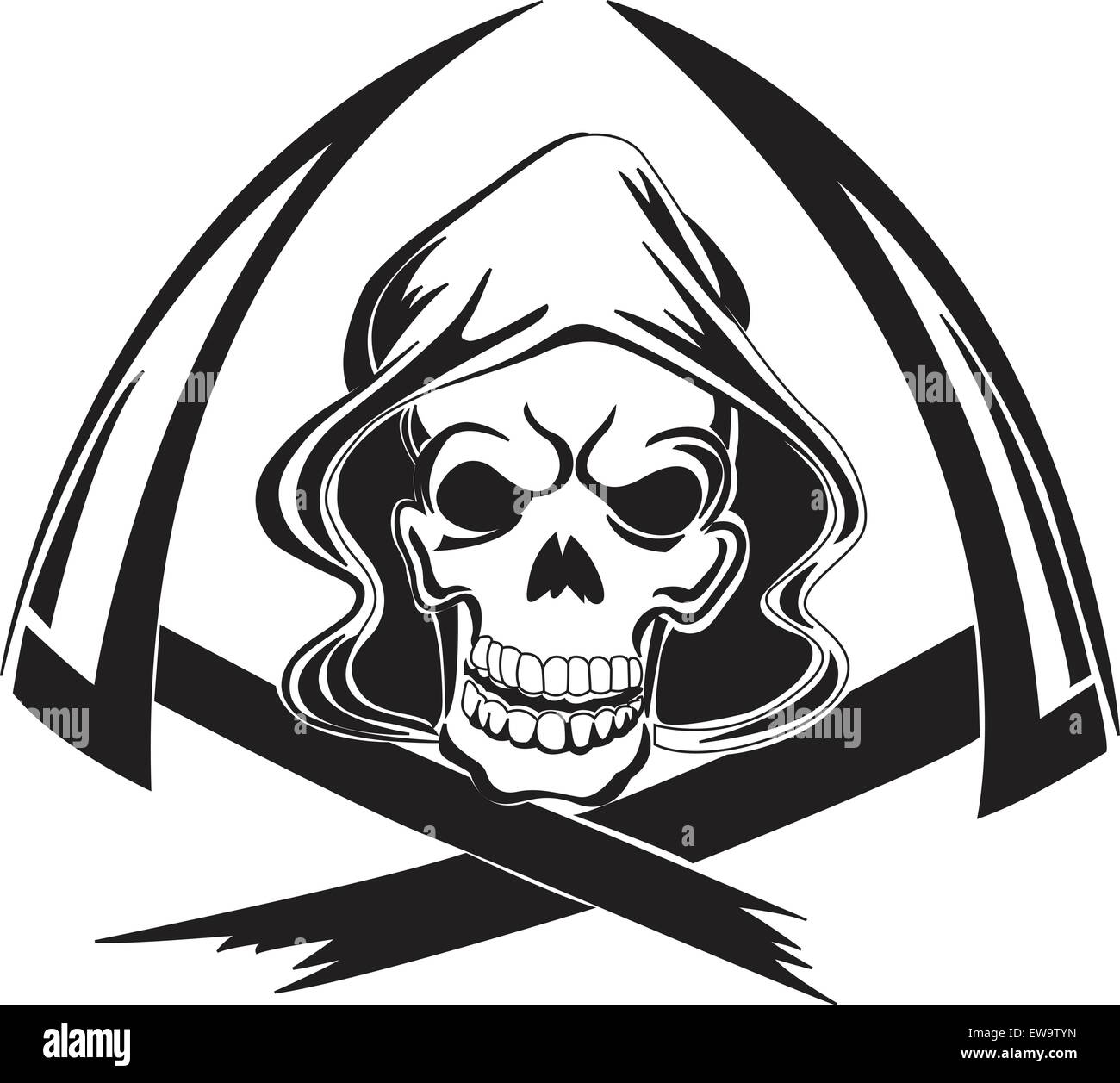 hight resolution of tattoo design of a grim reaper with scythe vintage engraved illustration stock vector