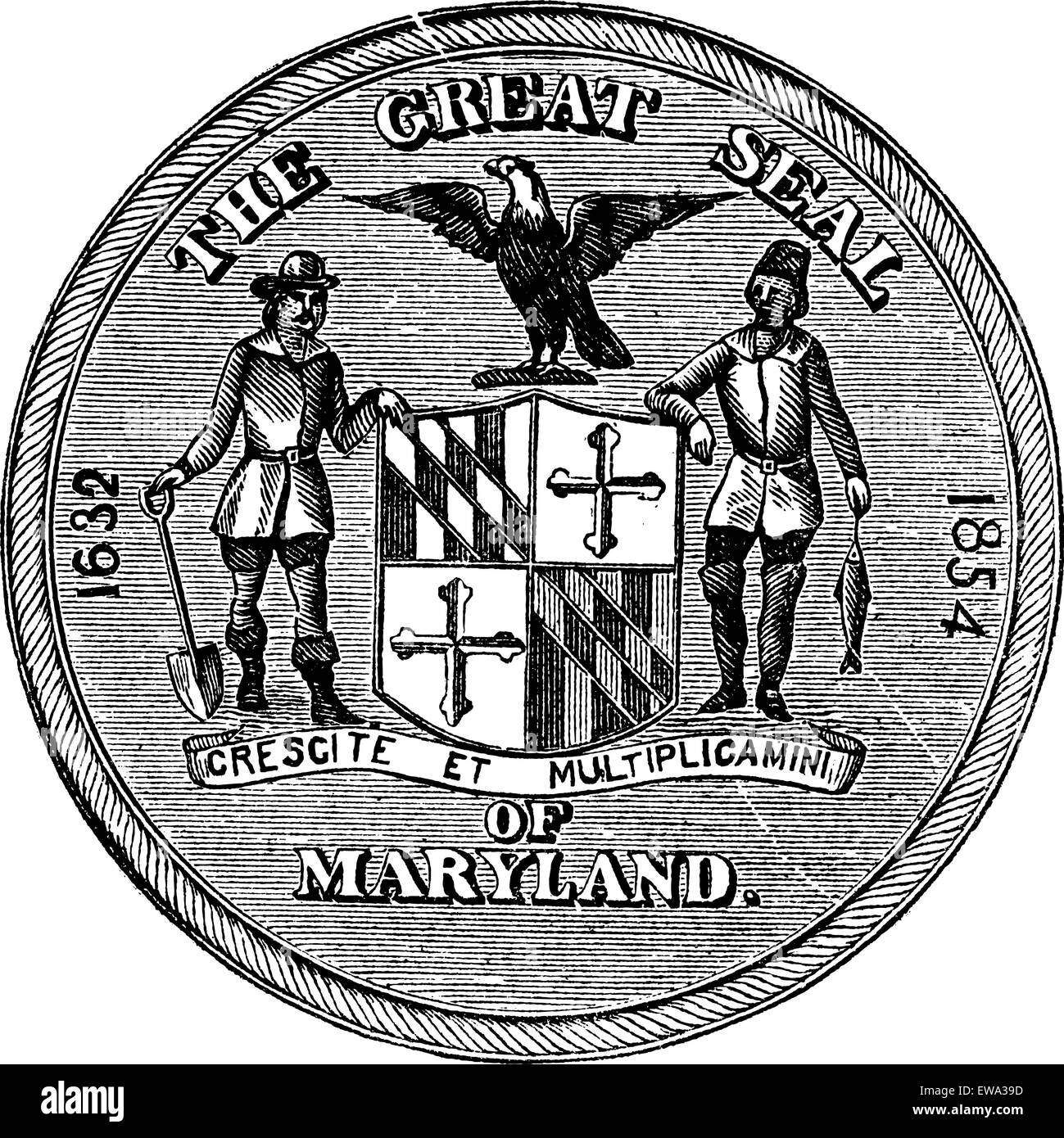 Great Seal Of The State Of Maryland United States Vintage Stock Vector Image Art Alamy