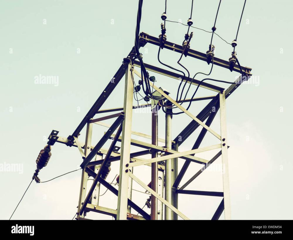 medium resolution of old electric pole with the transformer toned filter stock image