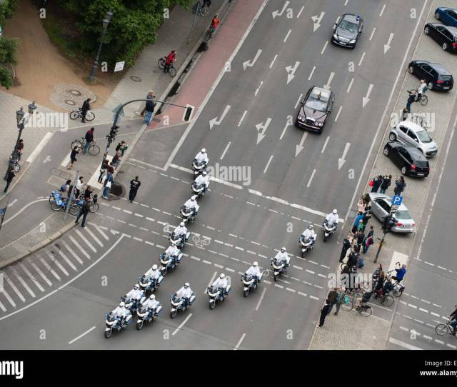 Berlin Germany Th June  Police Officers On Motorcycles So Called White Mice Escort British Queen Elizabeth Ii And Prince Philip
