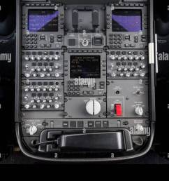 center console in the cockpit of a boeing 787 9 dreamliner of the airline ana at the bottom left the fd door access rotary [ 1300 x 957 Pixel ]