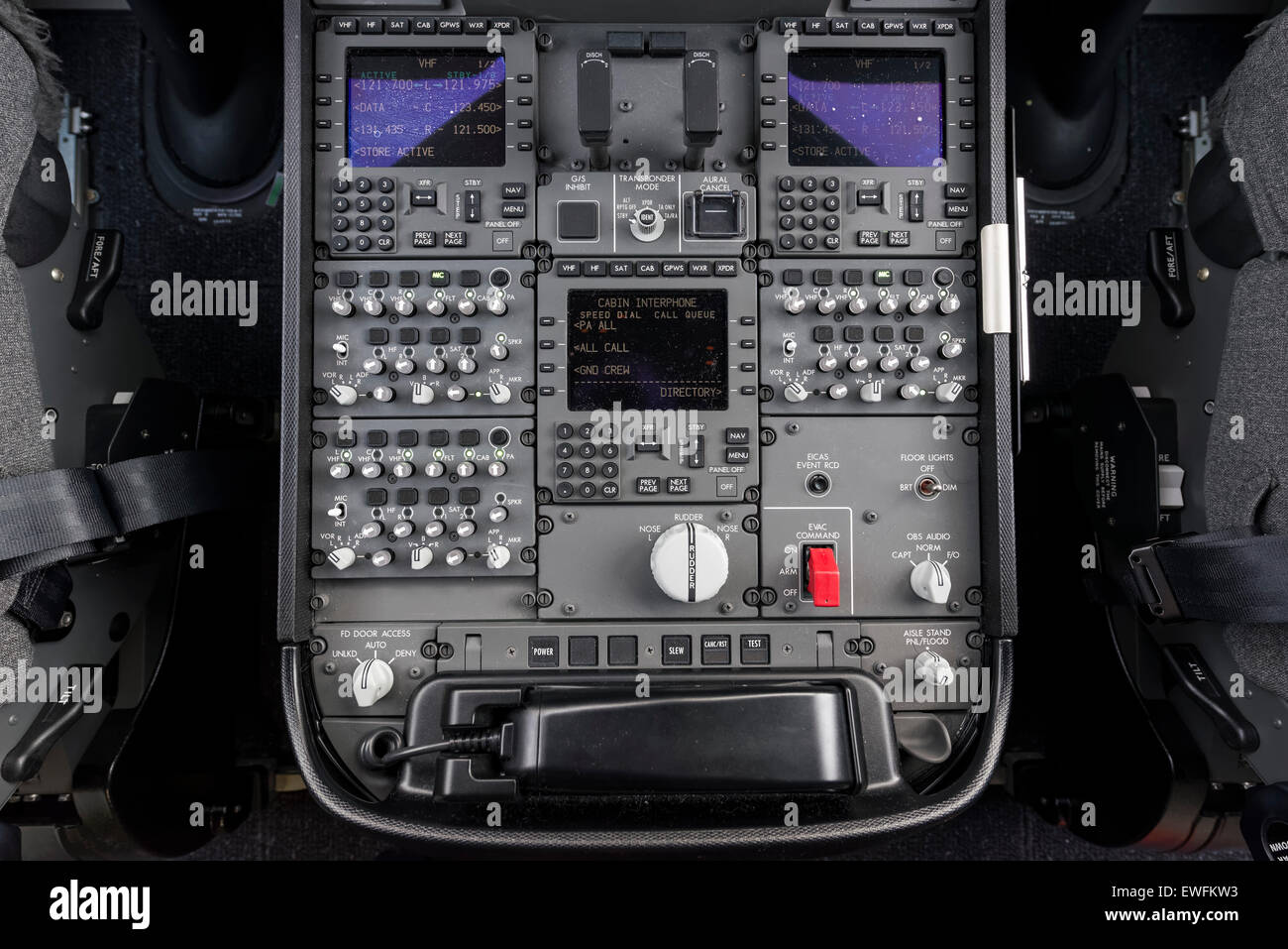 hight resolution of center console in the cockpit of a boeing 787 9 dreamliner of the airline ana at the bottom left the fd door access rotary