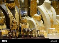 Gold jewelry in shop window of gold souk, Dubai, United ...