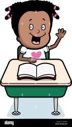 A happy cartoon child student at a desk in school Stock Vector Image & Art Alamy