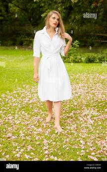 Barefoot In Dress Young Woman Shirt Walking