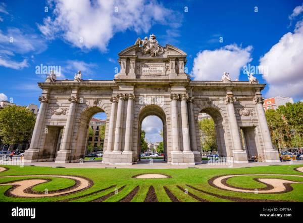 Madrid Spain Puerta De Alcala Gate Stock
