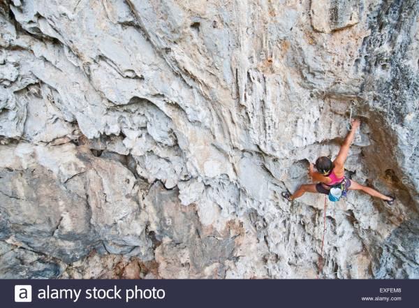 Woman Climber Climbing 7a Route Crazy Horse Buttress Close Stock Royalty Free