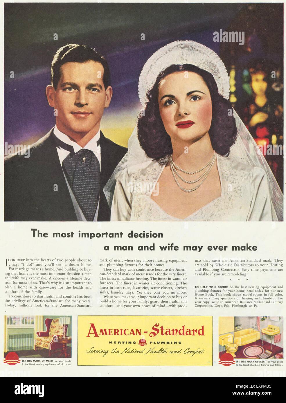 https www alamy com stock photo 1940s usa american standard magazine advert 85321241 html
