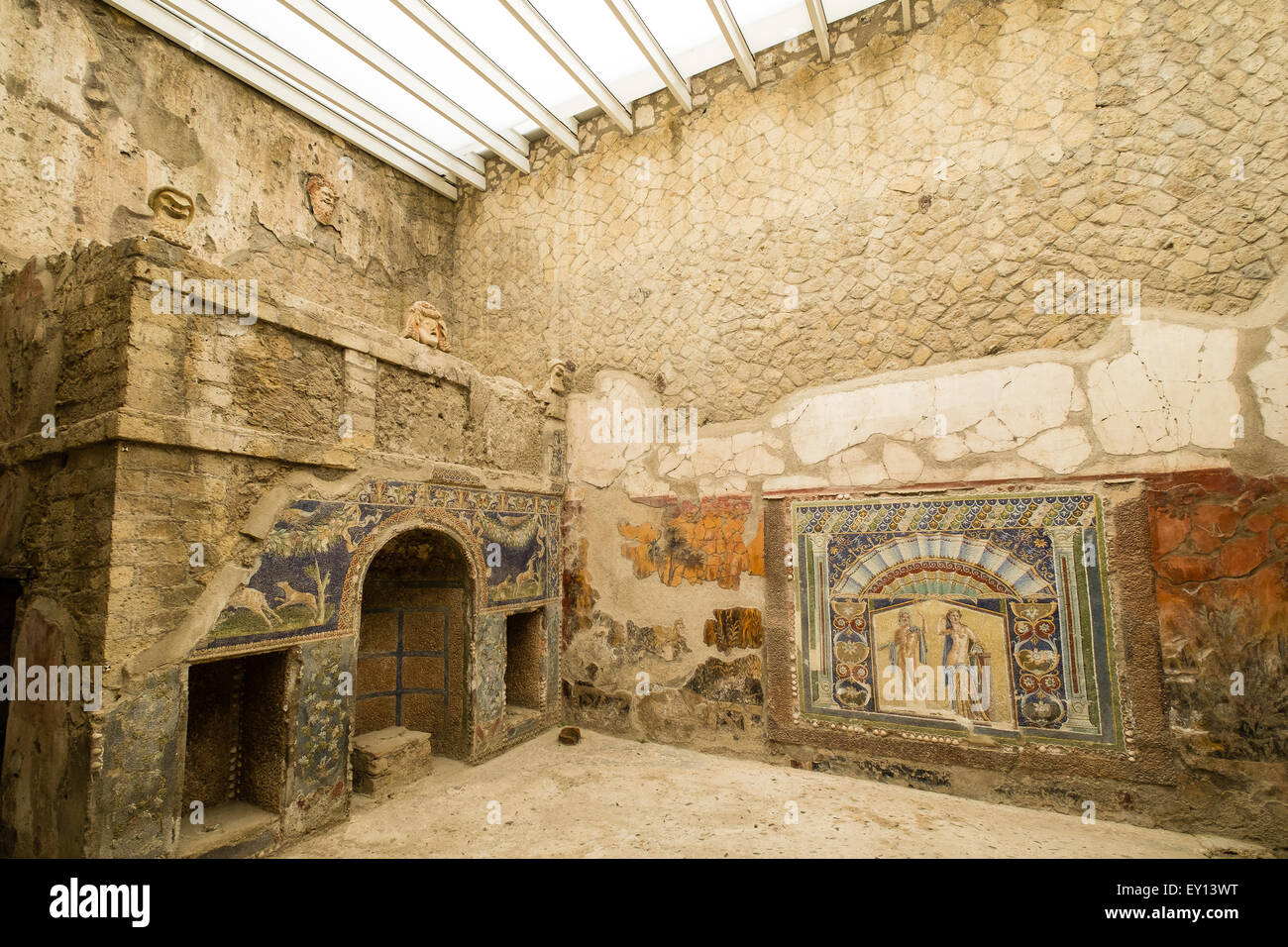 Inside A Roman House In The Ancient Town Of Herculaneum