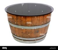 Half Wine Barrel Table with Glass Top Stock Photo, Royalty ...