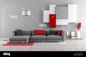 Contemporary Lounge With Gray Sofa And Wall Unit On