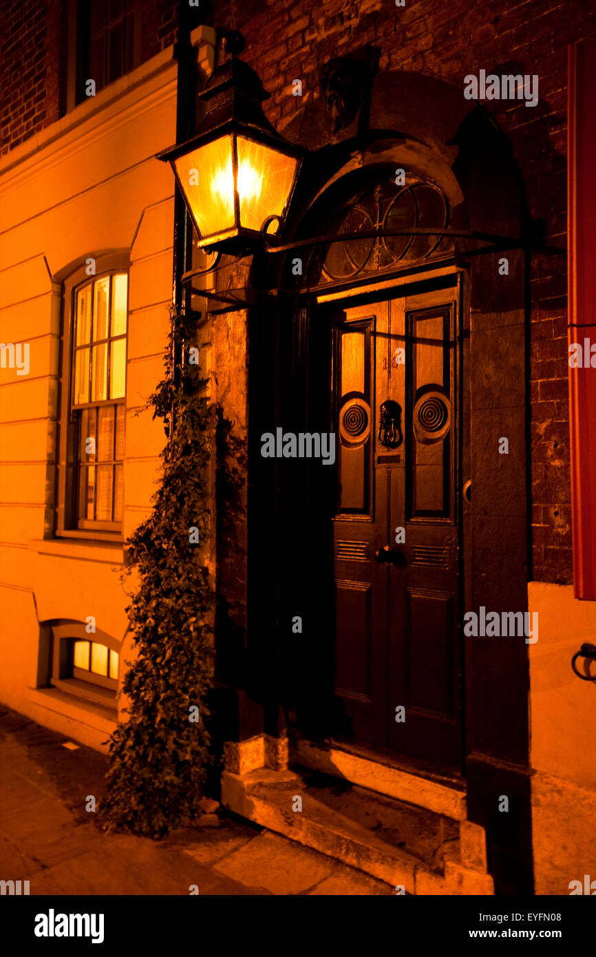 Victorian street lamp lights streets of East London at
