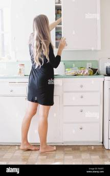 Barefoot Woman Standing Kitchen