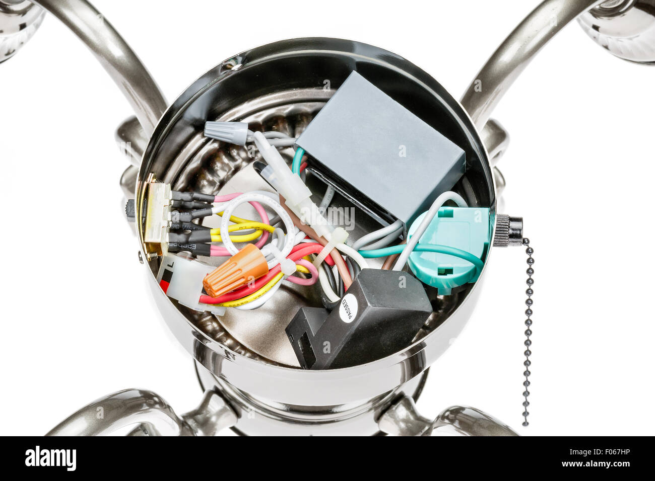 hight resolution of internal wiring of a ceiling fan light fixture stock photo 86189538 rh alamy com hunter ceiling fan internal wiring diagram ceiling fan with remote wiring