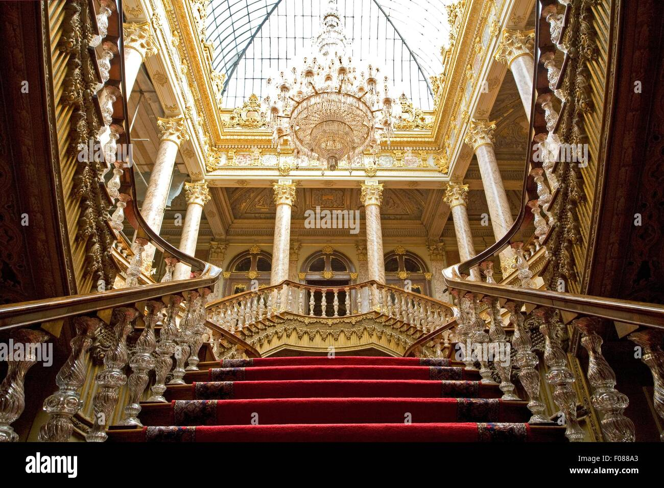 Low angle view of grand staircase at Dolmabahce Palace