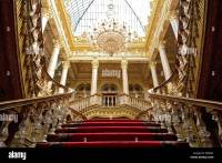 Low angle view of grand staircase at Dolmabahce Palace ...