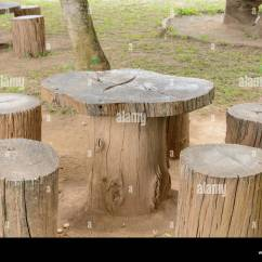 Tree Stump Chairs Chair Floor Protectors Stock Photos Images Alamy And Wooden Table In The Garden Image