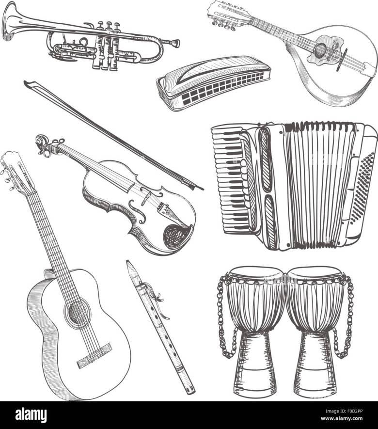 folk musical instruments drawing set stock vector art & illustration