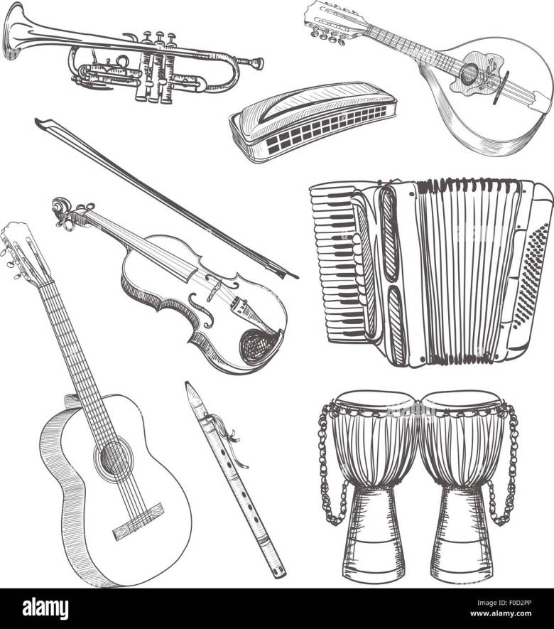 folk musical instruments drawing set stock vector art & illustration