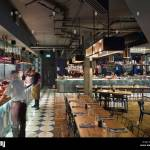 Open Kitchen Servery And Restaurant Seating Jamie S Italian More Stock Photo Alamy