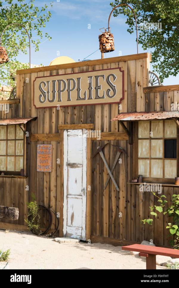 West Style Supply Store Facade In Mojave Desert