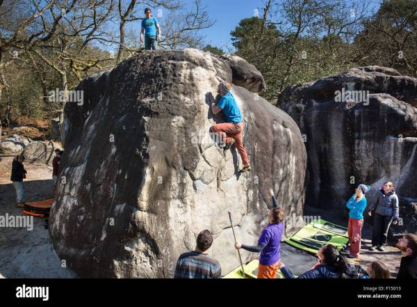 Bouldering In Fontainebleau Stock 86776287 - Alamy